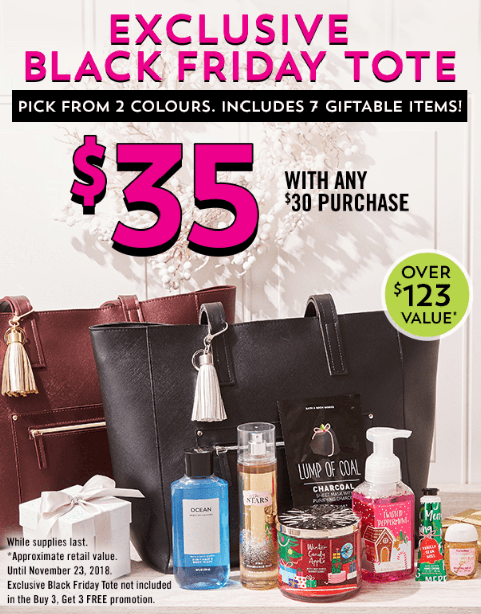 8a0582dc4ac0cc Bath   Body Works Canada Black Friday  LIVE   Filled Tote ( 123 Value) for  Only  35 with  30 Purchase + Buy 3