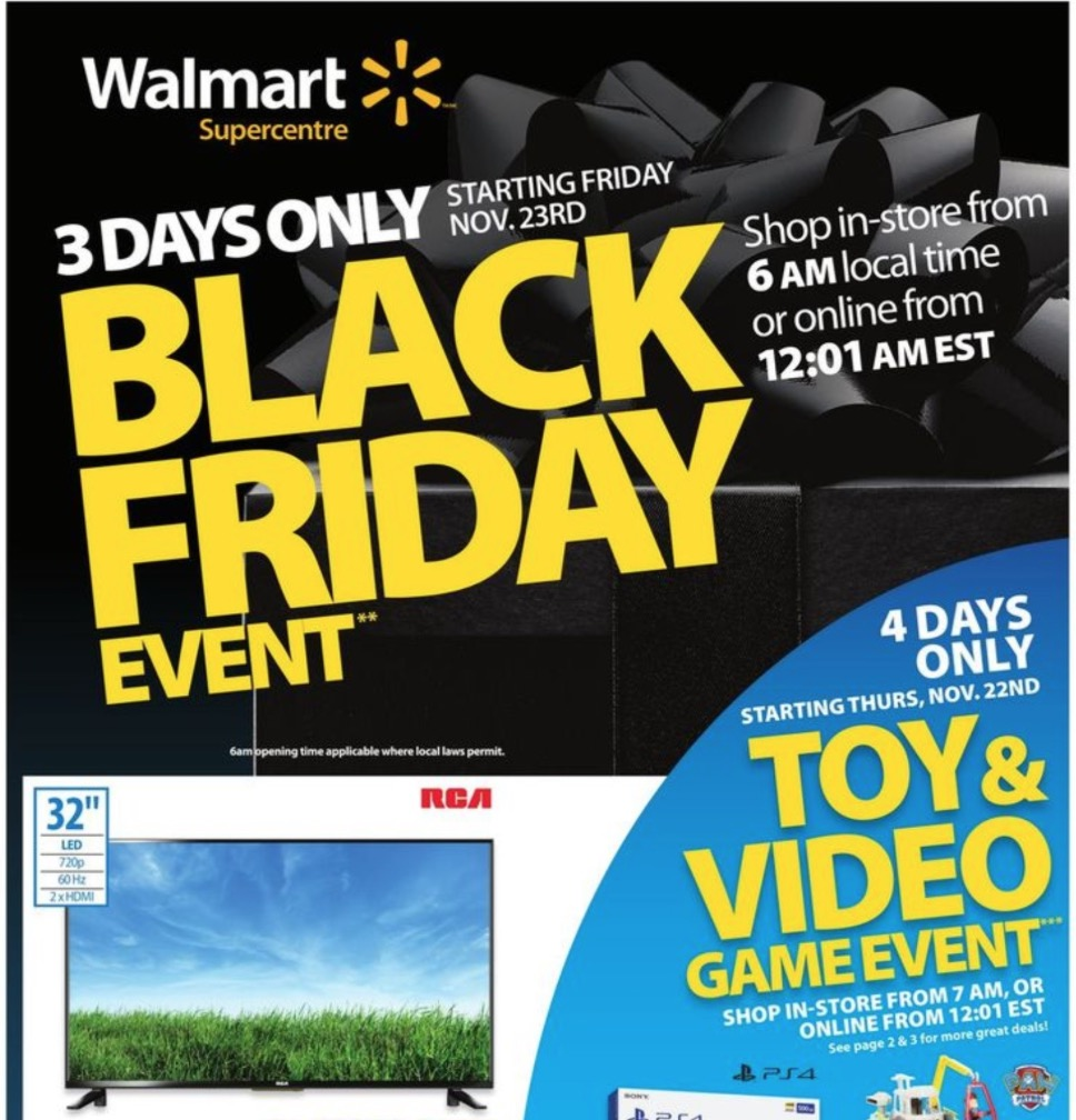 Walmart Canada Black Friday 2018 Flyer Deals Released Canadian Freebies Coupons Deals Bargains Flyers Contests Canada
