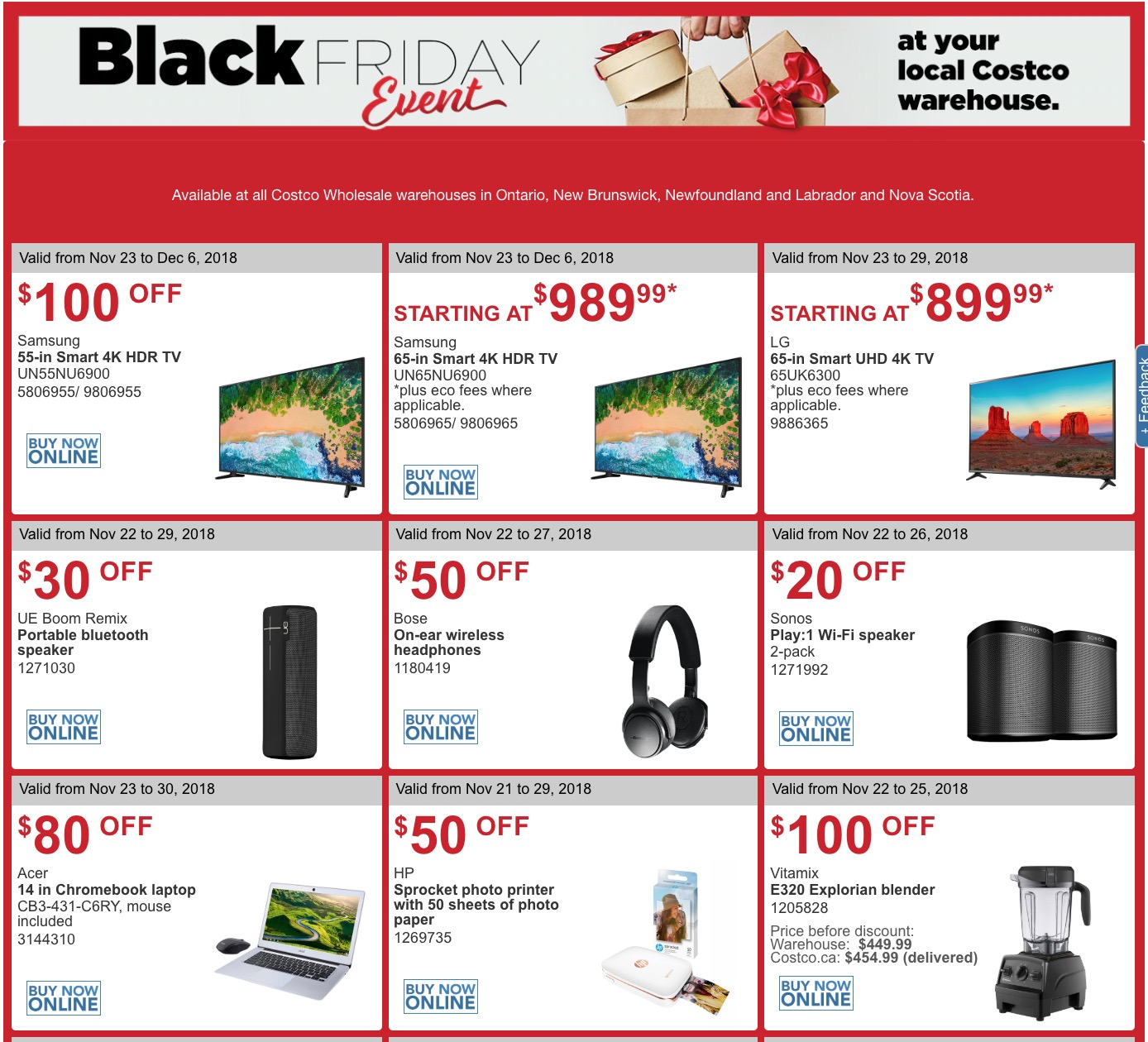 3a47c355b6d Costco Canada Black Friday 2018  LIVE  Coupons Flyers for Ontario