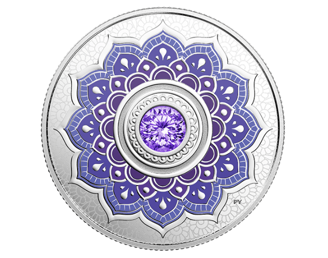 Royal Canadian Mint NEW Coins: Murano Holiday Wreath 2019 Coloured Coin + Tanzanite Swarovski® Crystal Coin