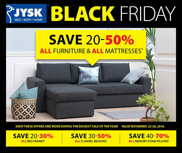 50 Off Mattress Sale: JYSK Canada Black Friday 2018 Sale: Save 20%-50% Off All