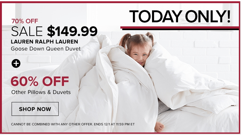 bb62d549a Hudson s Bay Canada Daily Deals  Save 70% off LAUREN RALPH LAUREN Goose  Down Queen Duvet + up to 20% off Sitewide with Promo Code