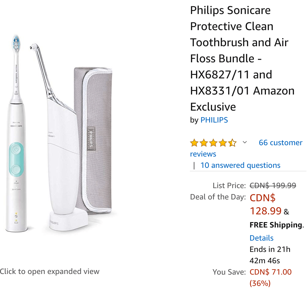 Amazon Canada 12 Days Of Deals Today Day 8 Beauty Health Deals Save 36 On Philips Sonicare Protective Clean Toothbrush Air Floss Bundle More