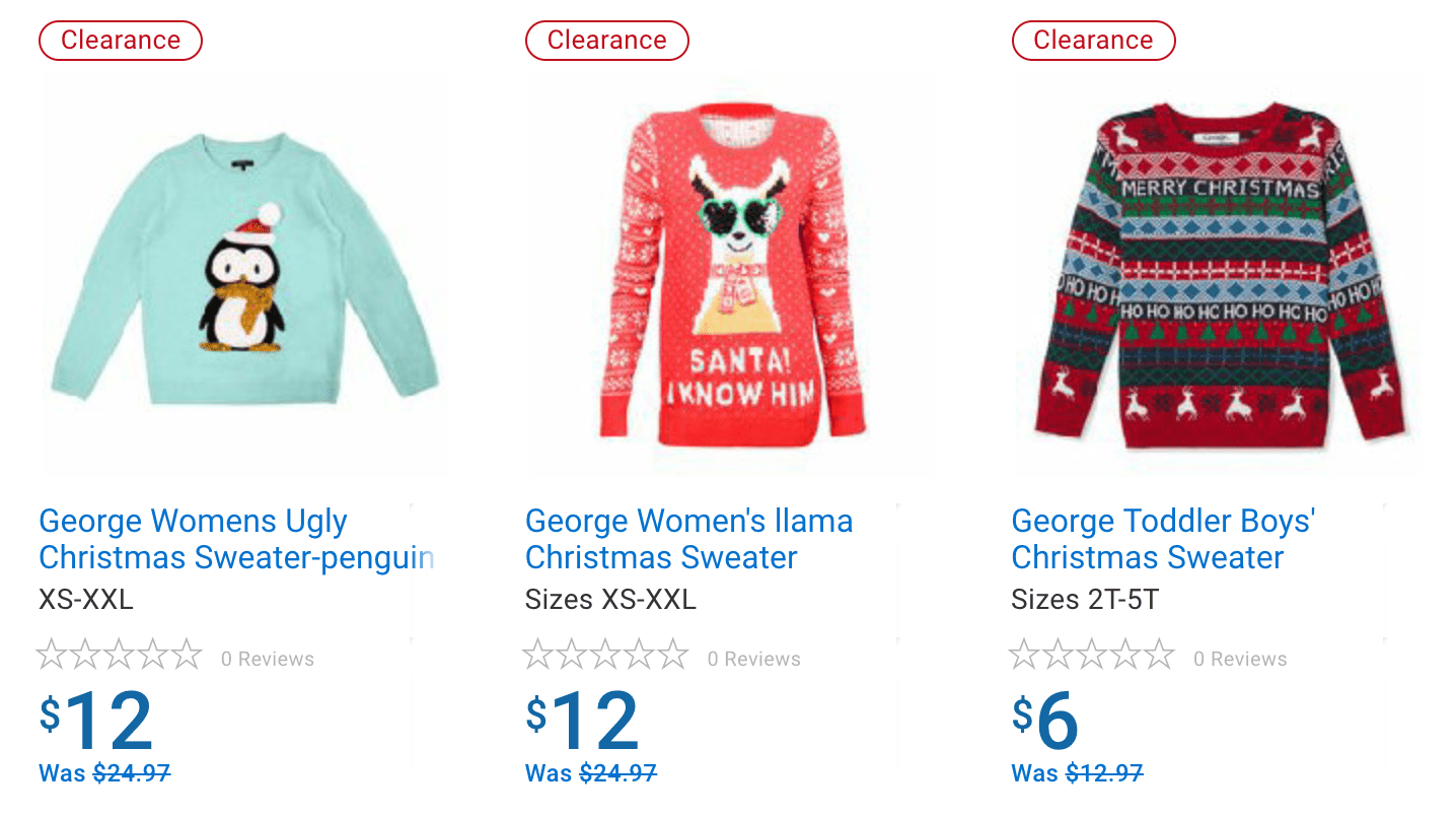 Walmart Canada Sale on Ugly Sweaters + 25% Off Holiday Decor