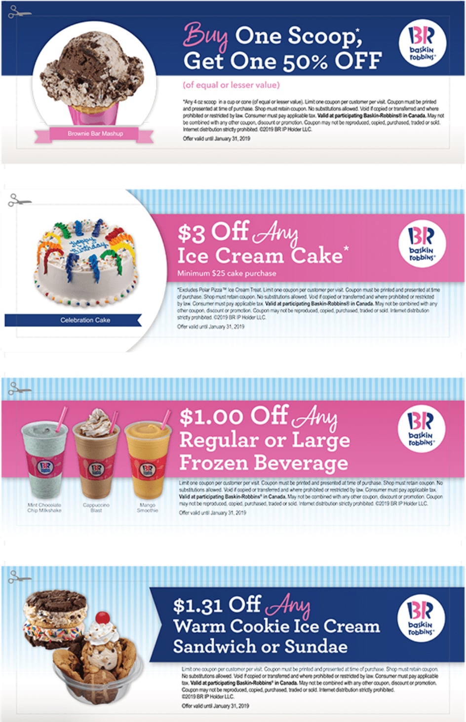 Baskin Robbins Canada Coupons: BOGO 50% Off Scoops, $1 31