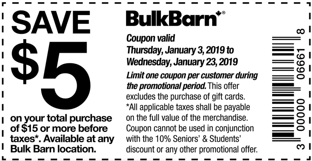 Bulk Barn Canada New Coupons: Save $5 Off your Total Purchase of $15