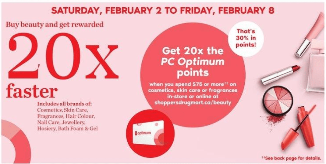 8053af6ddc Shoppers Drug Mart Canada  20x The PC Optimum Points When You Spend  75 Or  More On Cosmetics + Get 10
