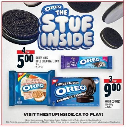 Oreo Canada The Stuf Inside Contest 20 000 Oreo Candy Bar Instant