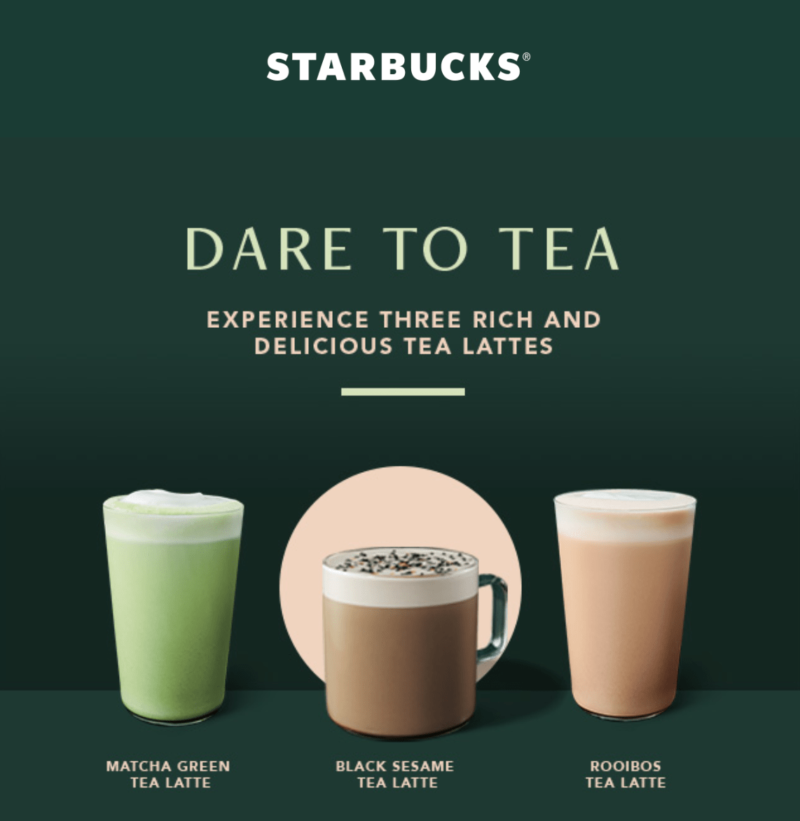 Starbucks Canada NEW Black Sesame Tea Latte & Cloud