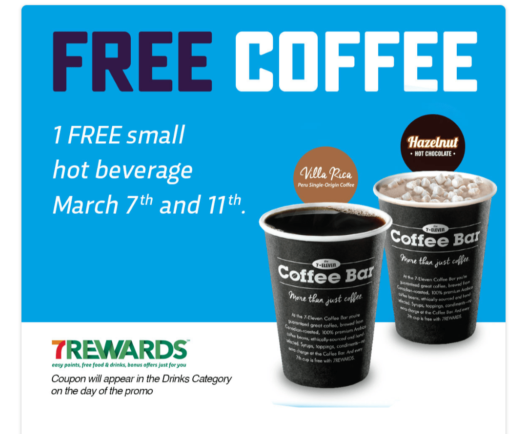 7-Eleven Canada FREE Coffee Today March 7 and March 11