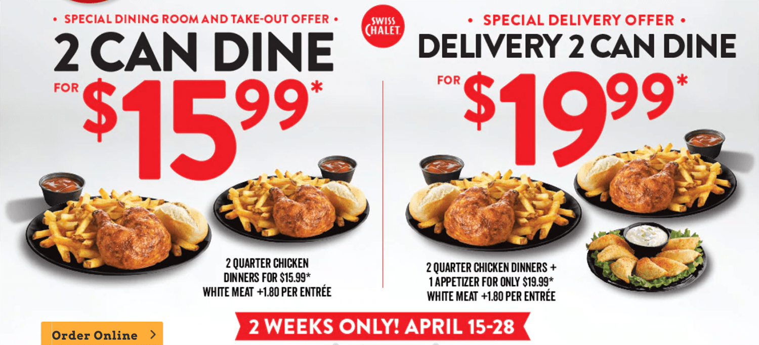 picture regarding Sports Chalet Printable Coupons named Swiss Chalet Canada Promotions: 2 Can Dine for $15.99 + Shipping