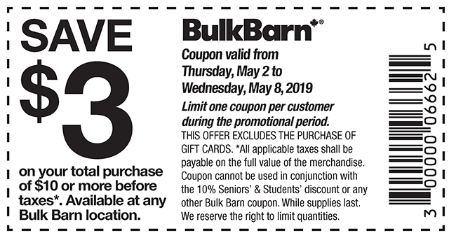 Bulk Barn Canada New Coupons: Save $3 Off Your Total