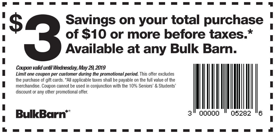 56d3583e3e2e3 Bulk Barn Canada has a new coupon now where you can save  3.00 off your  total purchase of  10 or more before taxes. This Bulk Barn Canada coupon is  valid ...