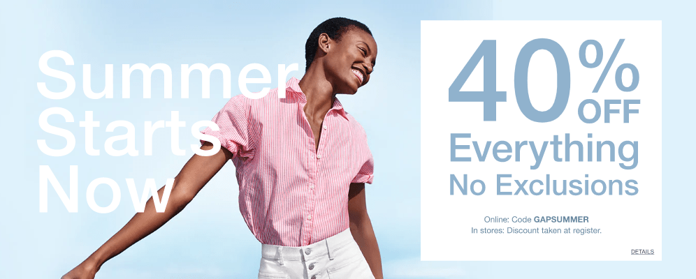 edddb17b8 Gap Canada Victoria Day Promotions  Save 40% off Everything + an Extra 10%  off with Promo Code