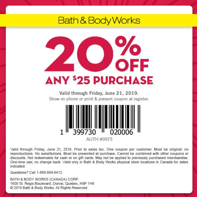Bath Body Works Canada Coupons 20 Off Any 25 Purchase Canadian Freebies Coupons Deals Bargains Flyers Contests Canada