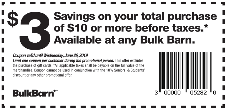 Bulk Barn Canada Coupons: Save $3 Off Your Total Purchase of $10 + 25% off Select Items