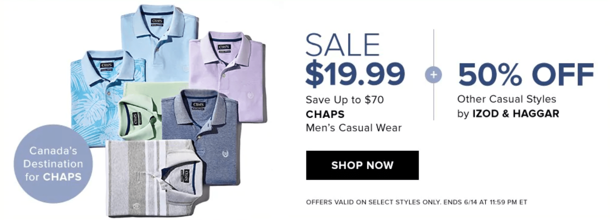Hudson's Bay Canada Daily Deals $19.99 Chaps Casual Wear + Seriously Hot Summer Savings Up to 50% Off