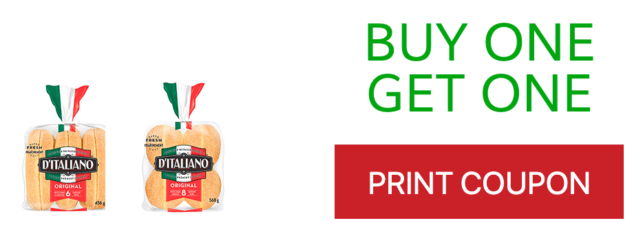 Canadian Coupons: Buy 1, Get 1 FREE, Buy any D'Italiano Bun