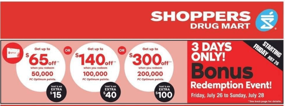 Shoppers Drug Mart Bonus Redemption & Flyer Deals: Get up to