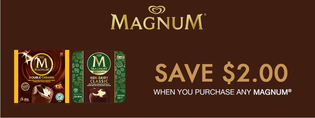 photograph relating to Ice Cream Coupons Printable titled Canadian Discount coupons: Help you save $2 Upon Any Magnum Ice Product Content