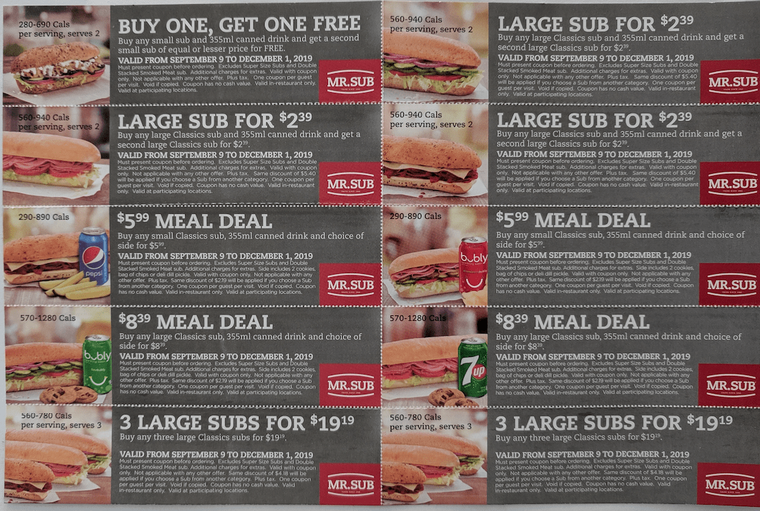 Mr Sub Canada Coupons Buy One Get One Free Large Sub For 2 39 And More Coupons Free Canadian Freebies Coupons Deals Bargains Flyers Contests Canada