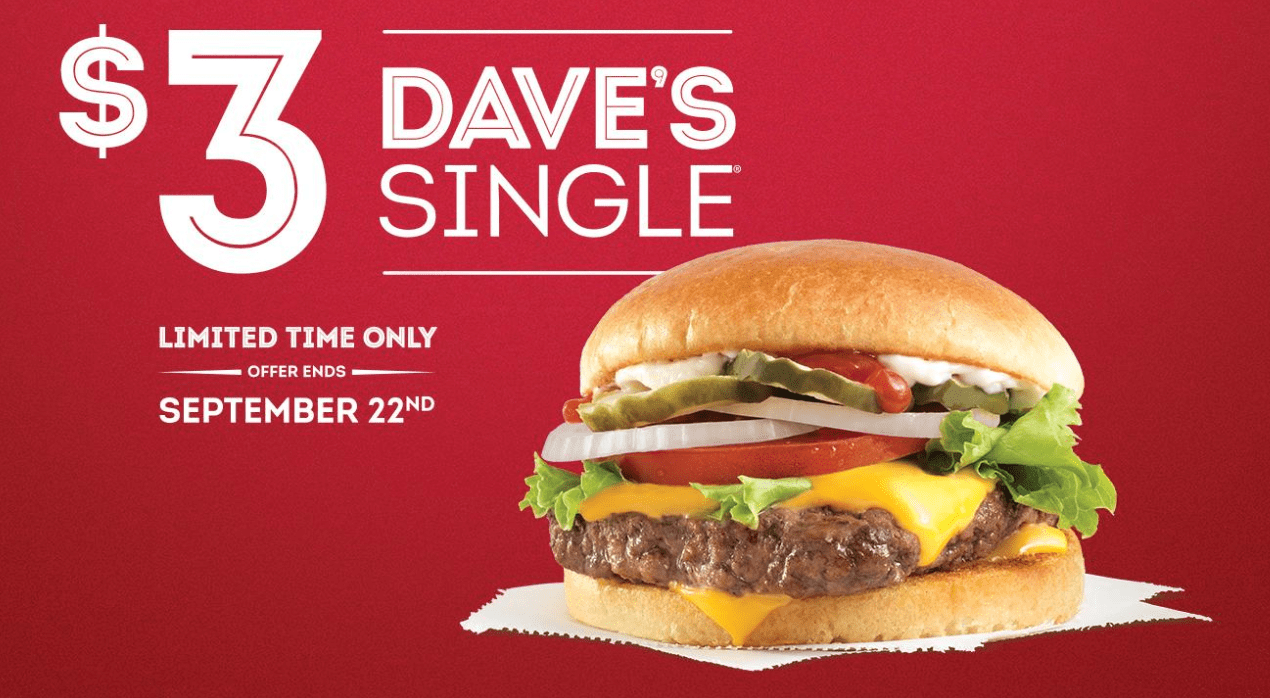 picture regarding Wendy's Printable Coupons called Wendys Canada Deals: Daves Solitary for Merely $3.00