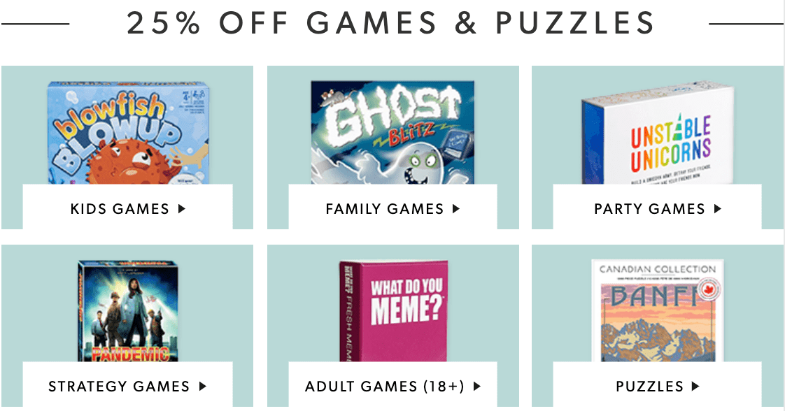 Indigo Chapters Canada Deals: Save 25% off Games & Puzzles + 25% off Home Event + 15% Off Regular Priced Items with Promo Code