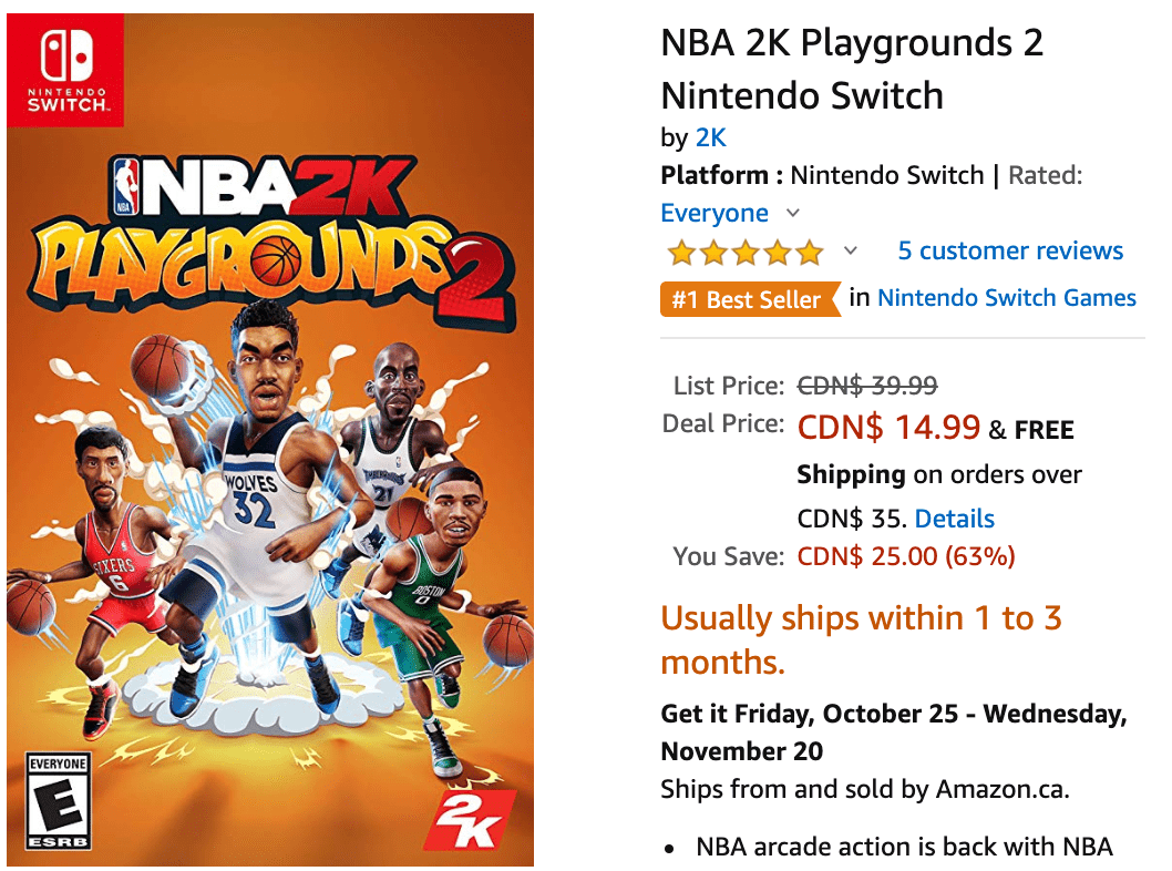 presenting outlet best sale Amazon Canada Deals: Save 63% on NBA 2K Playgrounds 2 ...