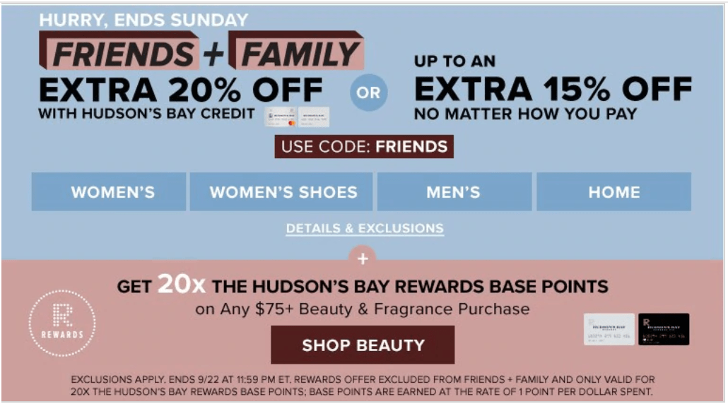 Hudson's Bay Canada Friends & Family Sale: Save an Extra 15% – 20% Off Using Promo Code
