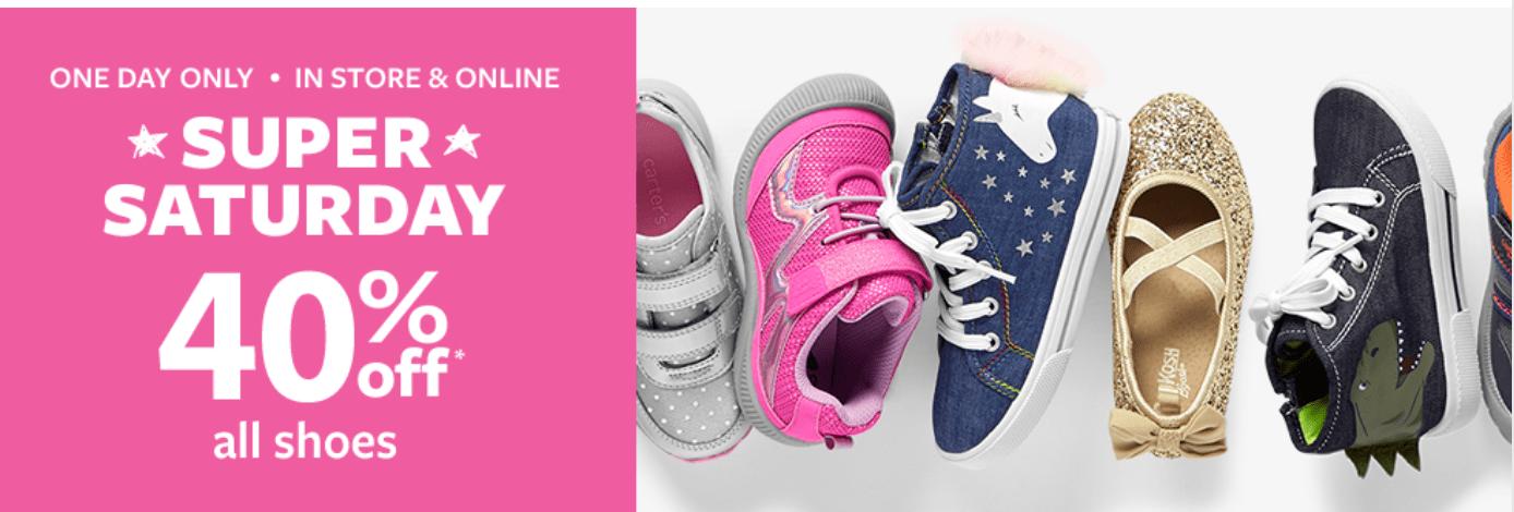 Carter's OshKosh B'gosh Canada Super Saturday Sale: Save 40% off All Shoes + More Deals