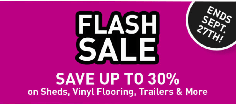 Lowe's Canada Flash Sale: Save 30% off Sheds, Vinyl Flooring, Trailers + Save 15%-20% off Regular-Priced with Coupon Code