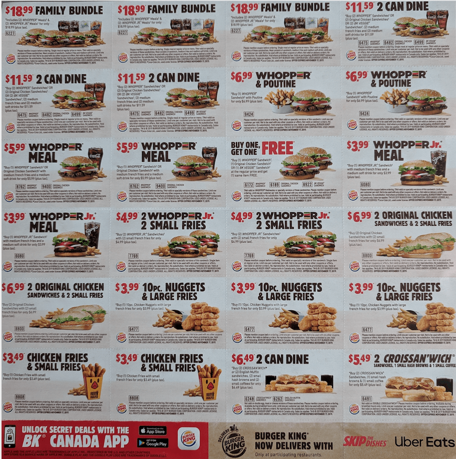 Burger King Mailer Coupons Buy One Whopper Get One Free Whopp Meal For 3 99 More Coupons Canadian Freebies Coupons Deals Bargains Flyers Contests Canada