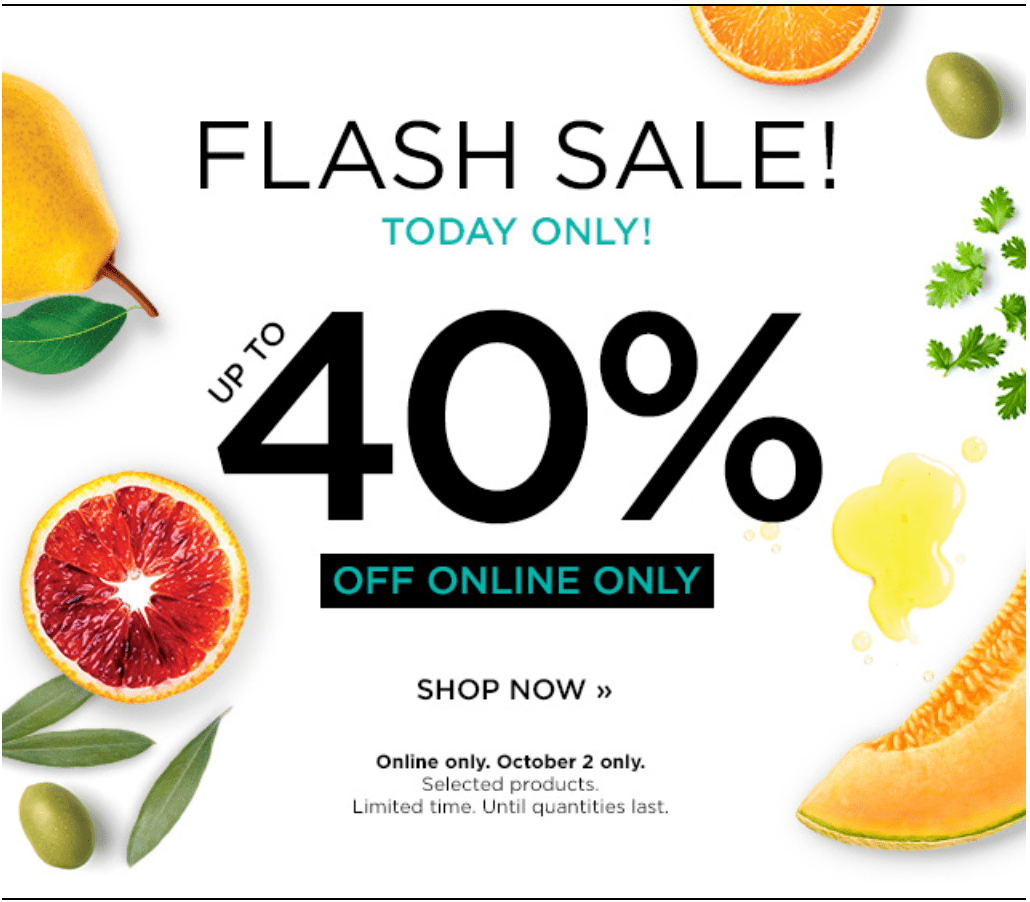 Fruits & Passion Canada Online Flash Sale: Today, Save up to 40% Off Select Products.