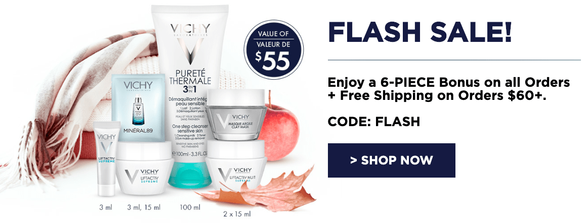 Vichy Canada Flash Sale: Enjoy a 6-PIECE Bonus on All Orders + FREE Shipping on Orders $60 With Coupon Code