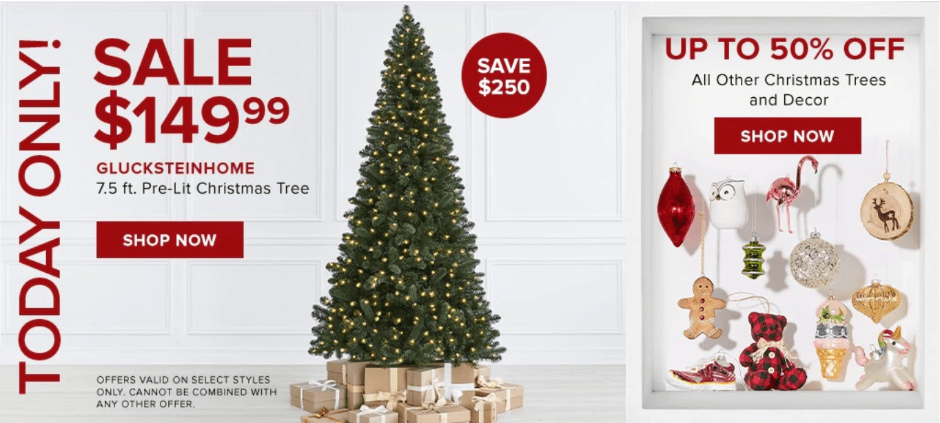 Hudson's Bay Canada Pre Black Friday One Day Sale: Today, Save 63% off GLUCKSTEINHOME Black Forest 7.5 ft. Pre-Lit Christmas Tree + $10 off $75 Beauty Purchase with Coupon Code