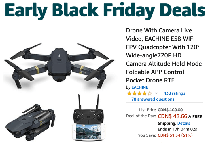 Amazon Canada Early Black Friday Deals Of The Day: Save 51% on EACHINE Drones + 25% Off Select Queen Titles