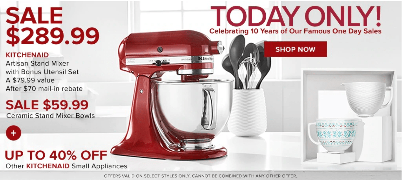 Hudson S Bay Canada Pre Black Friday One Day Sale Save 52 On Artisan Stand Mixer With Bonus Utensil Set A 79 99 Value More Deals Today Hot Canada Deals Hot Canada Deals