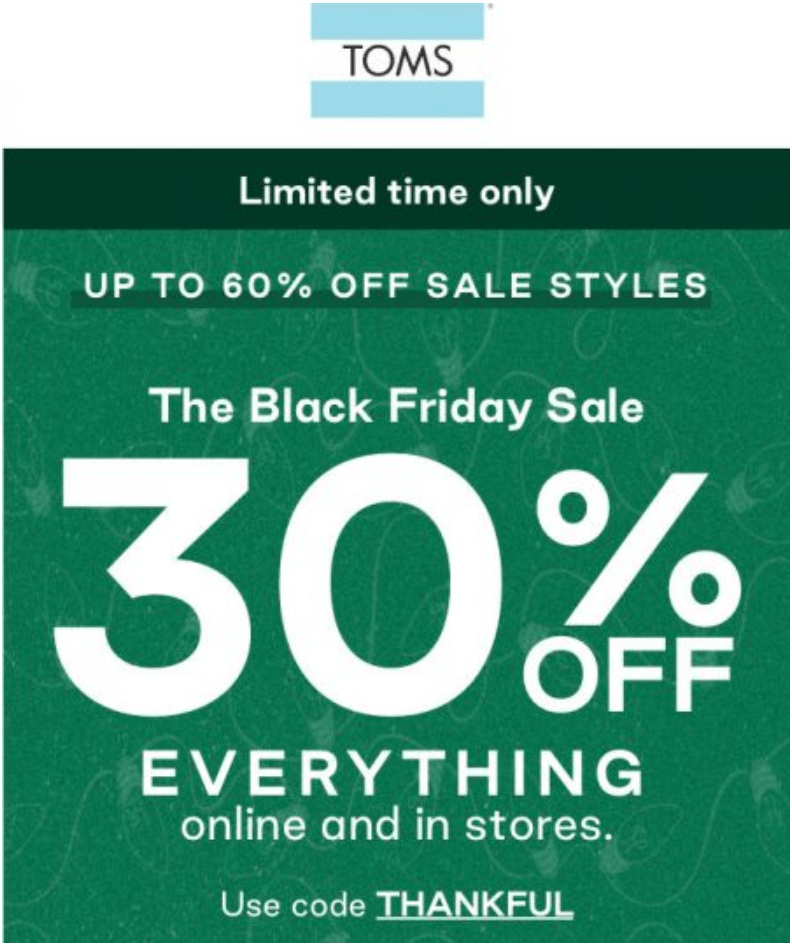 TOMS Canada Black Friday 2019 Sale
