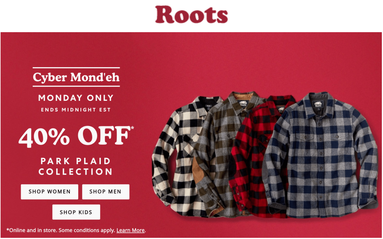 Roots Cyber Monday Canada