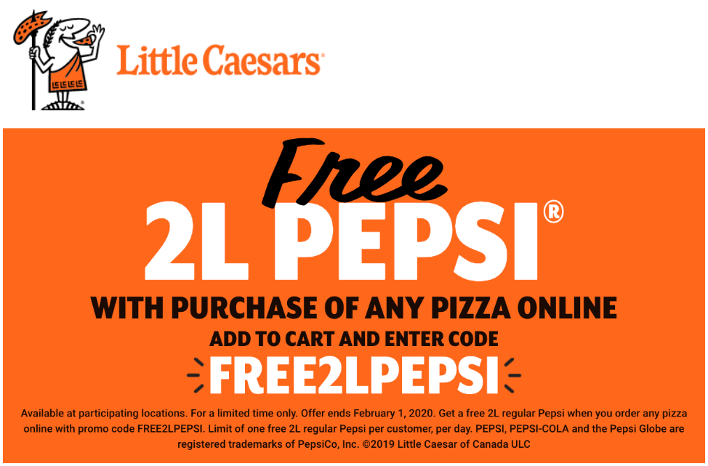 Little Caesars Canada Offers: FREE 2 Litre Pepsi with ...
