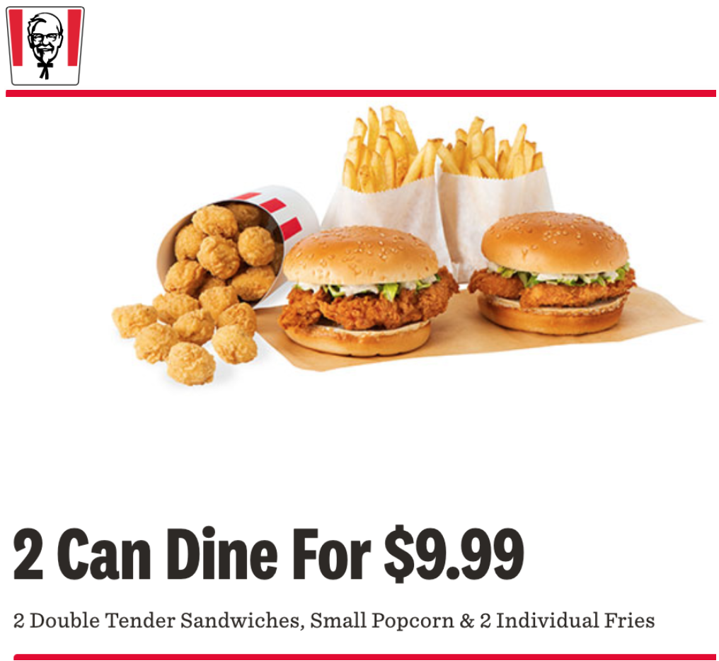 Kfc Canada Offers Get 2 Double Tender Sandwiches Meals For 9 99 Hot Canada Deals Hot Canada Deals