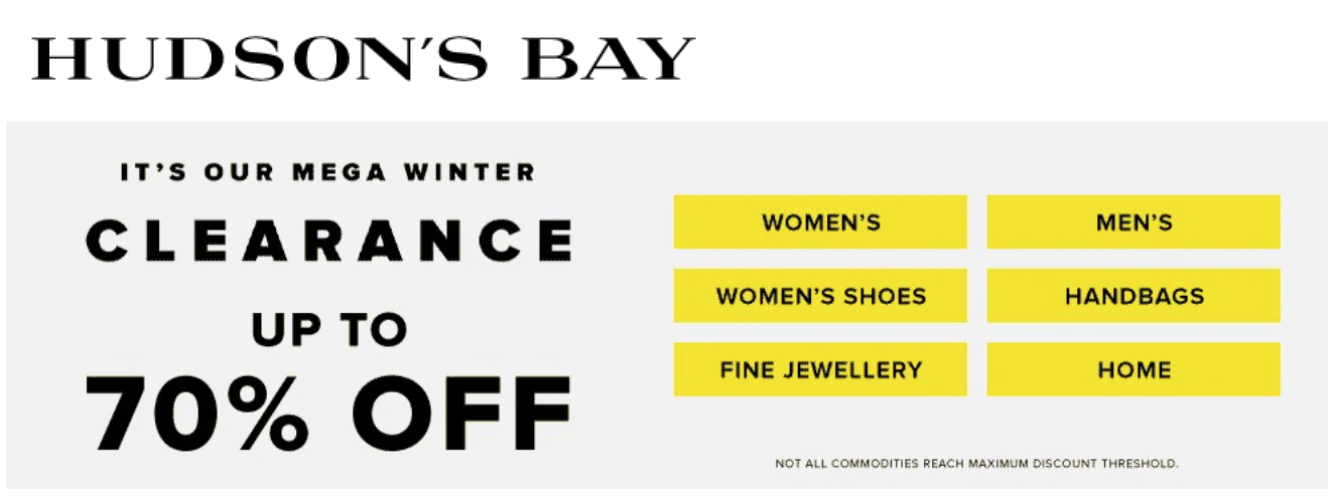 Hudson's Bay Canada Mega Winter Clearance Sale: Save up to 70% off!