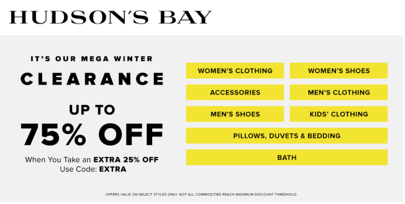 Hudson S Bay Canada Mega Winter Clearance Sale Save Up To 75 Off With Coupon Code Canadian Freebies Coupons Deals Bargains Flyers Contests Canada