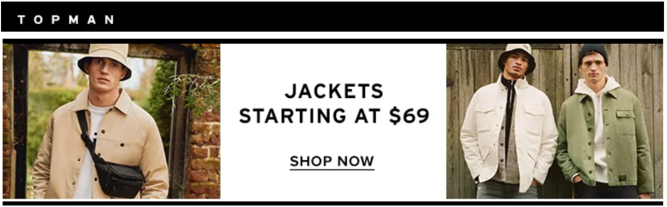 Hudson's Bay Canada Topman Offers: Jackets from $52.20 + Extra 25% off Select Clearance Items with Coupon Code