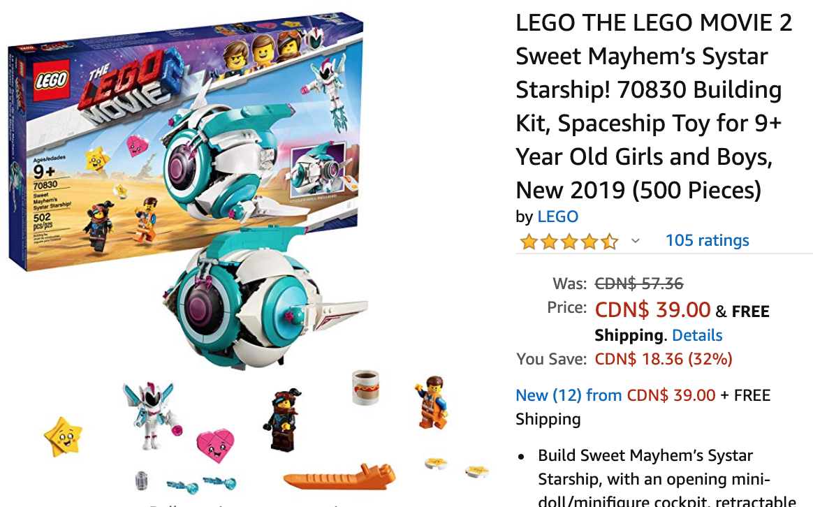 Amazon Canada Deals Save 32 On Lego The Lego Movie 2 Sweet Mayhem S Systar Starship Canadian Freebies Coupons Deals Bargains Flyers Contests Canada