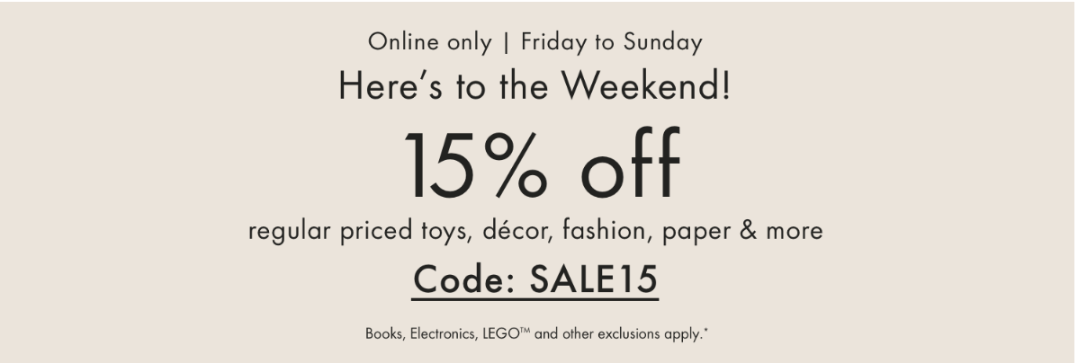 Indigo Chapters Canada Coupon Code Deals: Save 15% Off Regular Priced Items this Weekend Online Only!