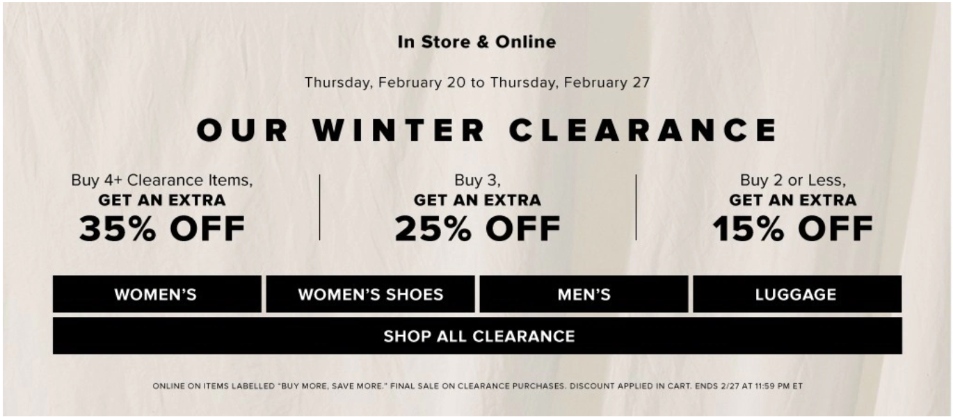 Hudson's Bay Canada Winter Clearance Sale: Save an EXTRA 15% – 35% Off Clearance Items
