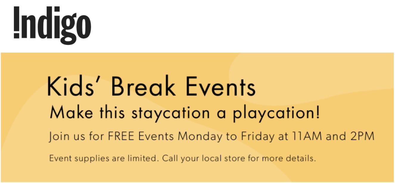 Indigo Canada FREE Kids' Break Events for March Break 2020