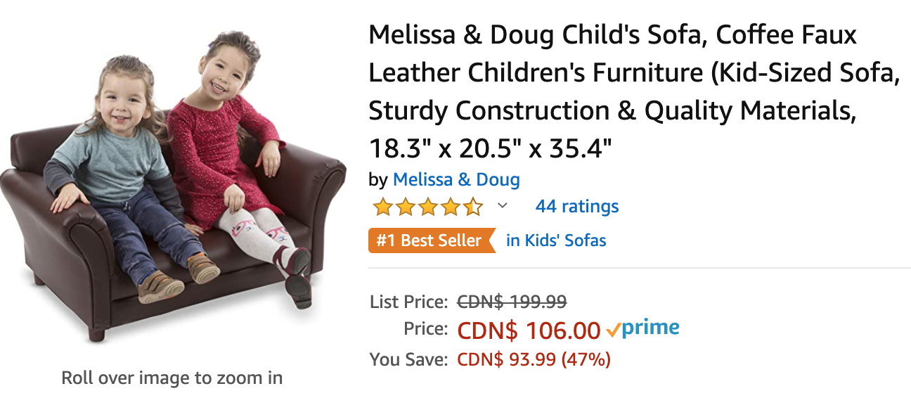 Amazon Canada Deals: Save 47% on Melissa & Doug Child's Sofa + 54% on CRAFTSMAN Mechanics Tool Set + More Offers