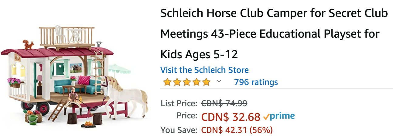 Amazon Canada Deals: Save 56% on Schleich Horse Club Camper + More Offers